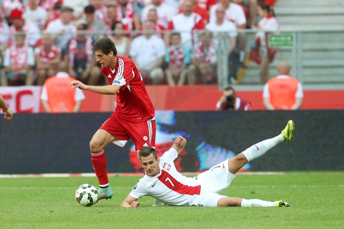 WARSZAWA 13.06.2015 MECZ ELIMINACJE DO MISTRZOSTW EUROPY FRANCJA 2016 GRUPA D: POLSKA - GRUZJA --- QUALIFICATION FOR UEFA EURO 2016 MATCH GROUP D IN WARSAW: POLAND - GEORGIA LASZA DWALI ARKADIUSZ MILIK FOT. PIOTR KUCZA/NEWSPIX.PL --- Newspix.pl *** Local Caption *** www.newspix.pl mail us: info@newspix.pl call us: 0048 022 23 22 222 --- Polish Picture Agency by Ringier Axel Springer Poland