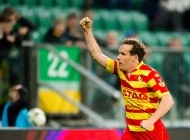 Polska Wroclaw 20.04.2016   Ekstraklasa pilka nozna 32 kolejka WKS Slask Wroclaw - Jagiellonia Bialystok Nz Konstantin Vassiljev jagiellonia #5 radosc po gol bramka joy after goal celebrates after scoring goal  Fot. Sebastian Borowski / 400mm.pl      Ekstraklasa Professional Polish football league WKS Slask Wroclaw - Jagiellonia Bialystok