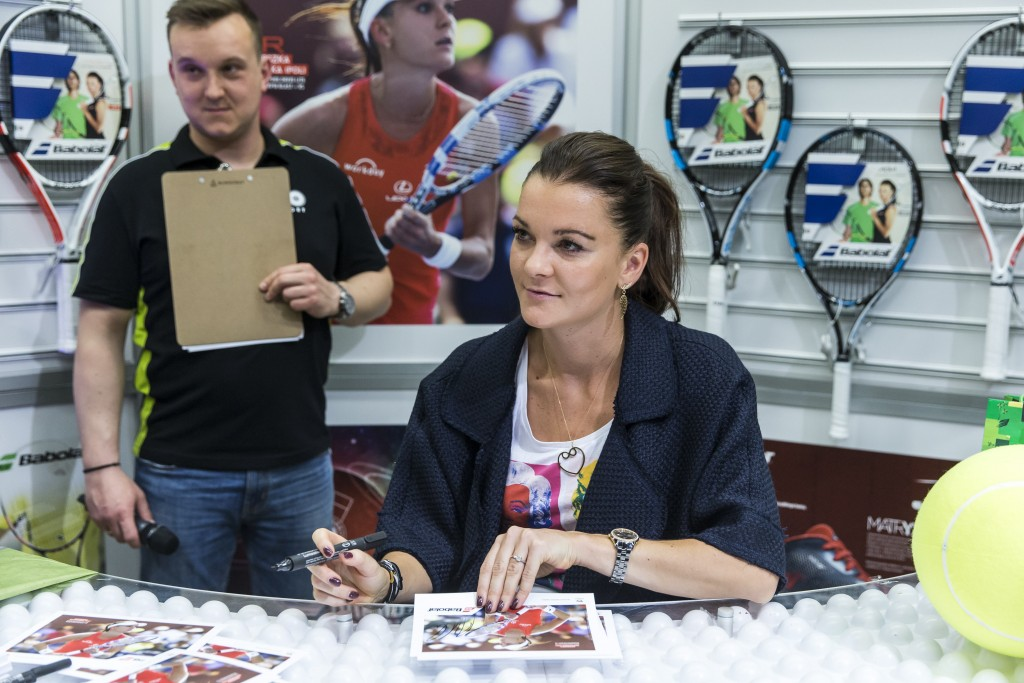 WARSZAWA 12.04.2016 PROMOCJA KOLEKCJI RAKIET TENISOWYCH FIRMY BABOLAT I KONFERENCJA PRASOWA --- PROMOTION OF TENNIS RACKETS COLLECTION BABOLAT AND PRESS CONFERENCE IN WARSAW AGNIESZKA RADWANSKA FOT. PIOTR KUCZA/ 400mm.pl