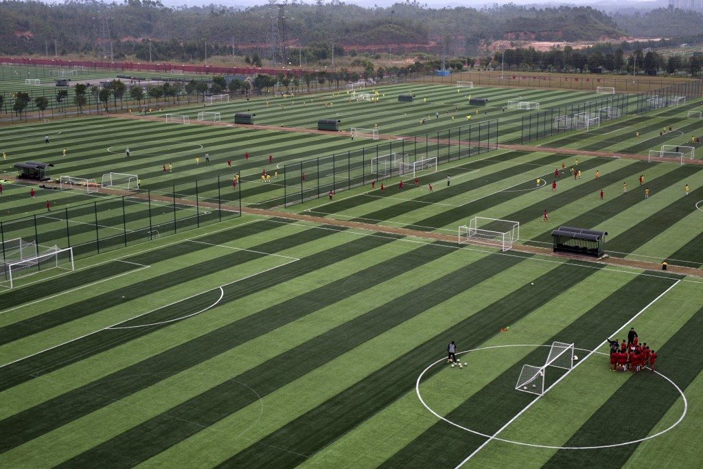 A view shows some of the 50 pitches at Evergrande soccer academy in Qingyuan, southern China December 3, 2015. Picture taken December 3. REUTERS/Tyrone Siu