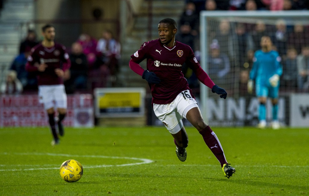 21/11/15 LADBROKES PREMIERSHIP HEARTS V DUNDEE (1-1) TYNECASTLE - EDINBURGH Arnaud Djoum in action for Hearts