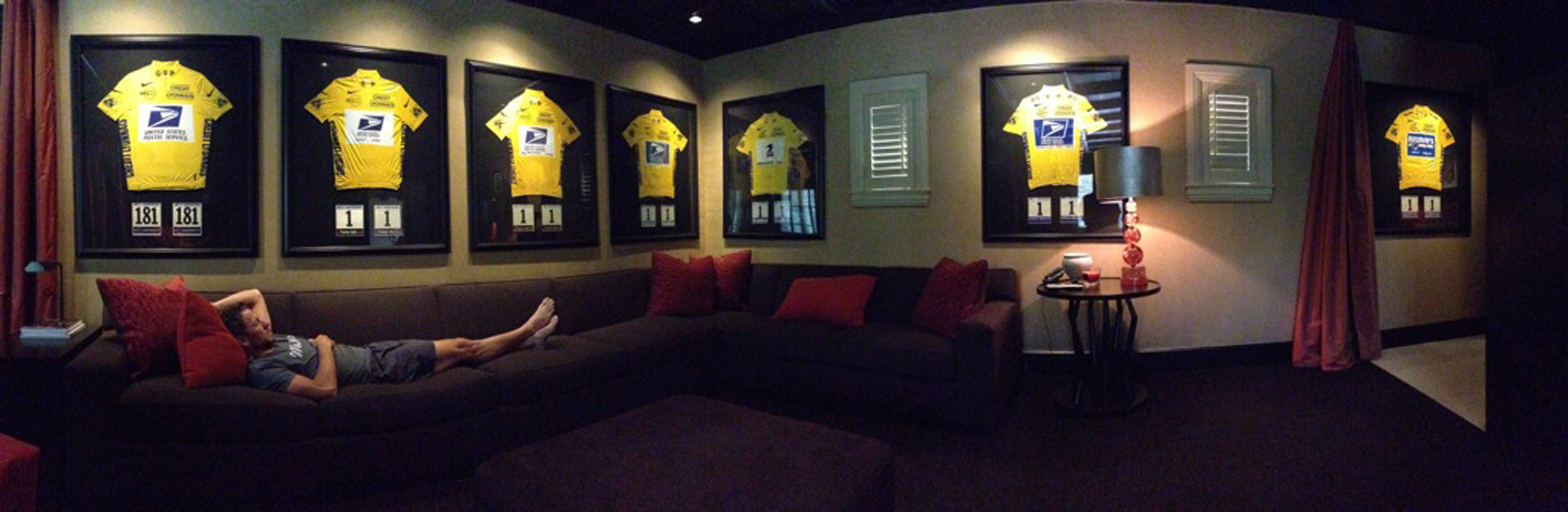 "A picture posted by Lance Armstrong on his Twitter account on November 10, 2012 shows him laying on a couch with his seven Tour de France yellow jerseys in the background. The picture was sent to Armstrong's 3.8 million Twitter followers under a message reading ""Back in Austin and just layin' around."" REUTERS/Lance Armstrong/Twitter/Handout (UNITED STATES - Tags: SPORT CYCLING TPX IMAGES OF THE DAY) NO SALES. NO ARCHIVES. FOR EDITORIAL USE ONLY. NOT FOR SALE FOR MARKETING OR ADVERTISING CAMPAIGNS. THIS IMAGE HAS BEEN SUPPLIED BY A THIRD PARTY. IT IS DISTRIBUTED, EXACTLY AS RECEIVED BY REUTERS, AS A SERVICE TO CLIENTS"