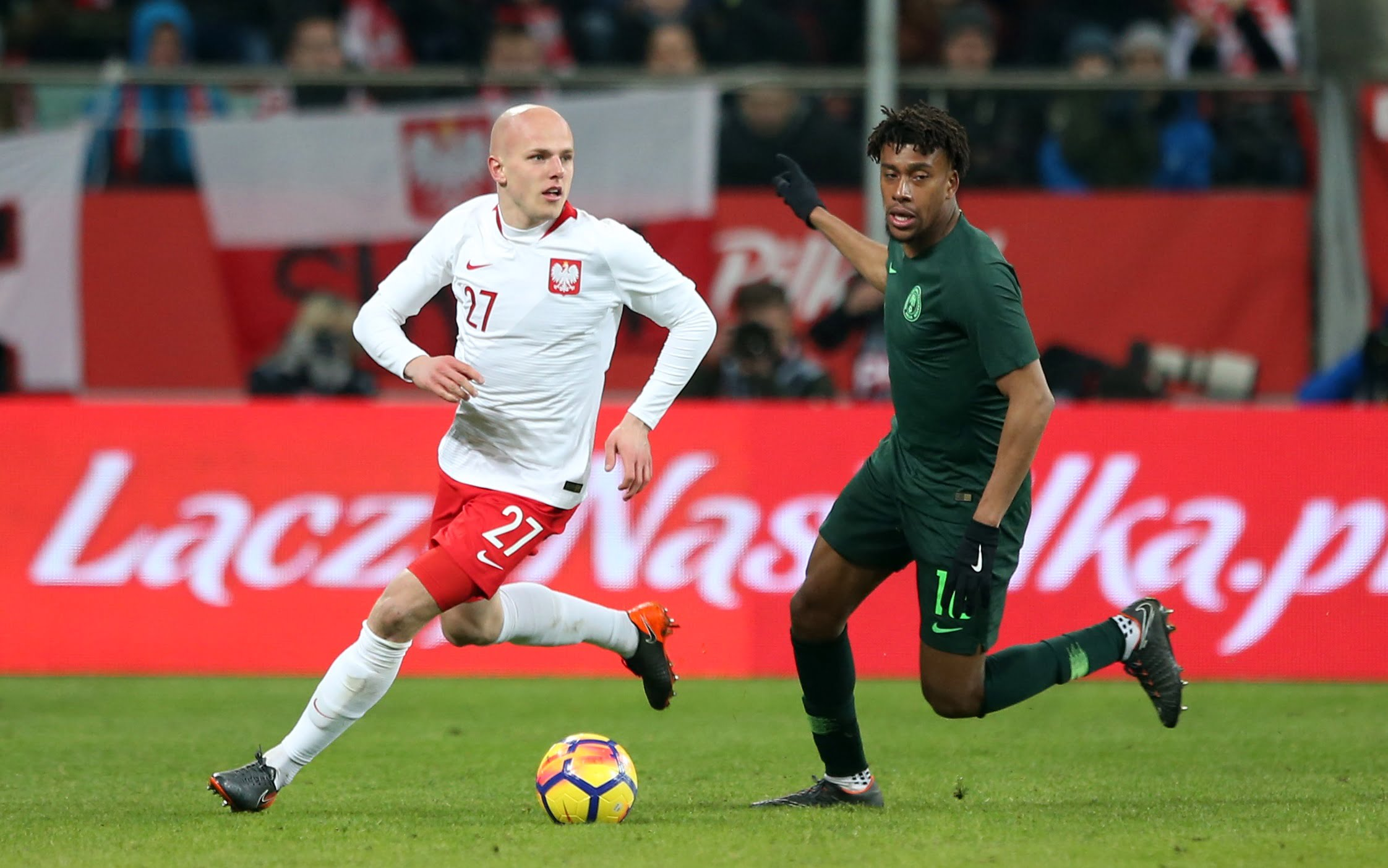 WROCLAW 23.03.2018 MIEDZYNARODOWY MECZ TOWARZYSKI: POLSKA - NIGERIA --- INTERNATIONAL FRIENDLY FOOTBALL MATCH: POLAND - NIGERIA RAFAL KURZAWA ALEX IWOBI FOT. PIOTR KUCZA/ 400mm.pl