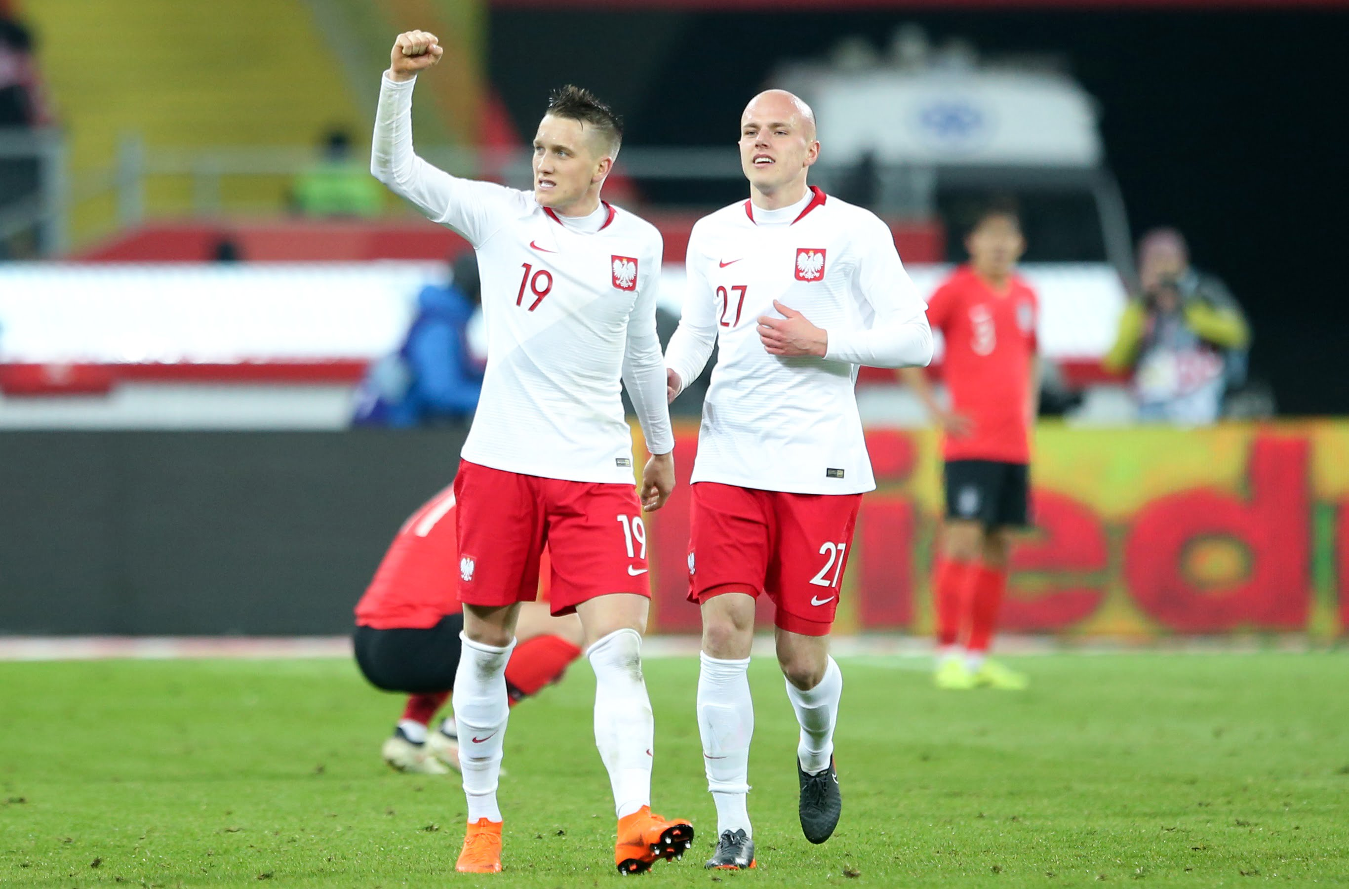 CHORZOW 27.03.2018 MIEDZYNARODOWY MECZ TOWARZYSKI: POLSKA - KOREA POLUDNIOWA 3:2 --- INTERNATIONAL FRIENDLY FOOTBALL MATCH: POLAND - SOUTH KOREA 3:2 PIOTR ZIELINSKI RAFAL KURZAWA FOT. PIOTR KUCZA/ 400mm.pl