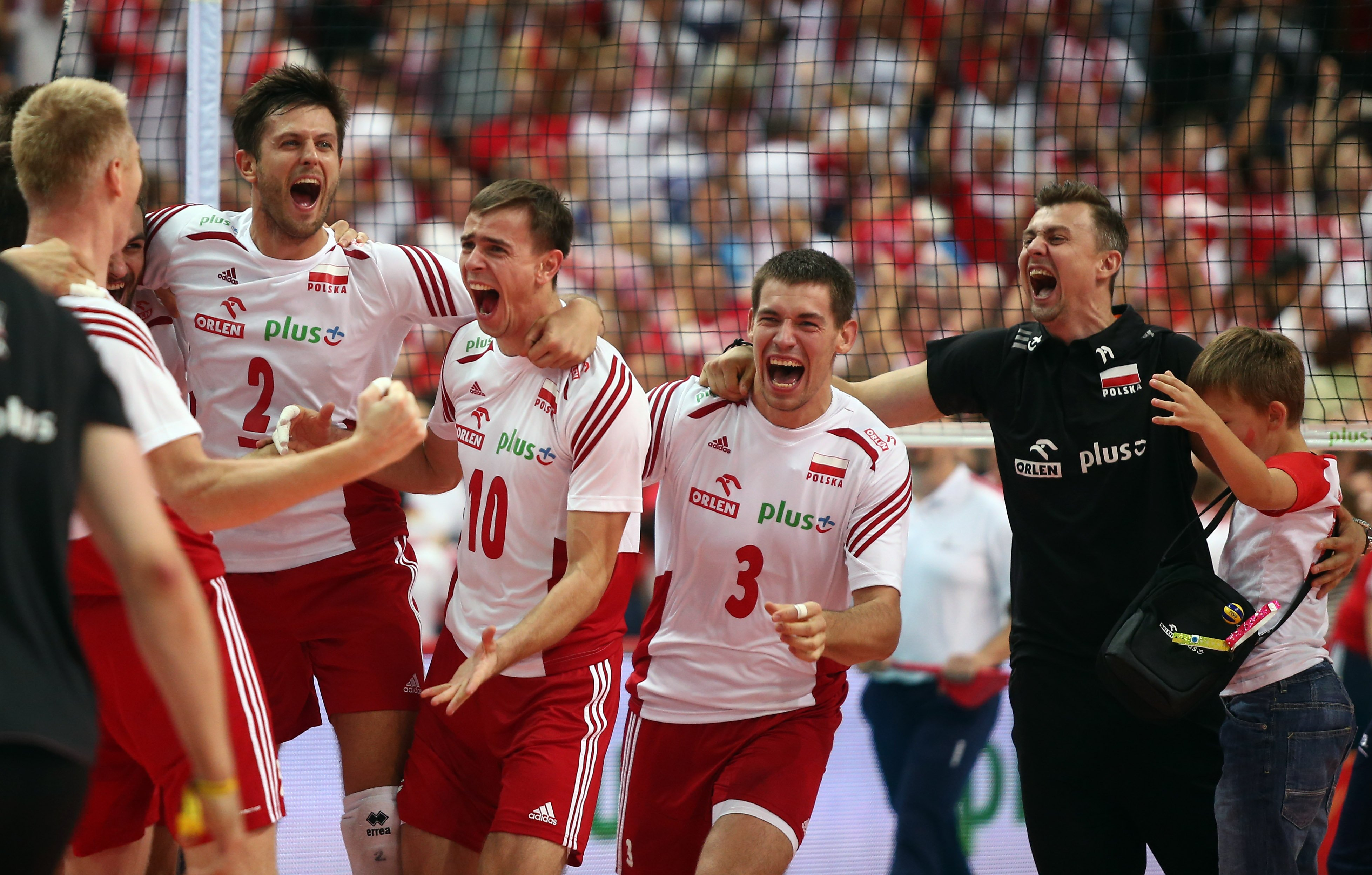 KATOWICE , HALA SPODEK 20.09.2014 SIATKOWKA MEZCZYZNI REPREZENTACJA FIVB MISTRZOSTWA SWIATA W SIATKOWCE MEZCZYZN 2014 RUNDA FINALOWA FINAL POLSKA - BRAZYLIA NZ RADOSC POLSKA ZWYCIESTWO MISTRZ SWIATA MICHAL WINIARSKI ( POLSKA ) MARIUSZ WLAZLY ( POLSKA ) DAWID KONARSKI ( POLSKA ) KRZYSZTOF IGNACZAK Z SYNEM FOT MICHAL NOWAK / NEWSPIX.PL KATOWICE , SPODEK HALL 20.09.2014 VOLLEYBALL MEN FIVB MEN'S VOLLEYBALL WORLD CHAMPIONSHIP POLAND 2014 FINAL ROUND THE FINAL GAME POLAND - BRASIL POLAND WON THE MATCH AND BECOME THE WORLD CHAMPION CELEBRATION POLAND WINNER MICHAL NOWAK / NEWSPIX.PL --- Newspix.pl *** Local Caption *** www.newspix.pl mail us: info@newspix.pl call us: 0048 022 23 22 222 --- Polish Picture Agency by Ringier Axel Springer Poland
