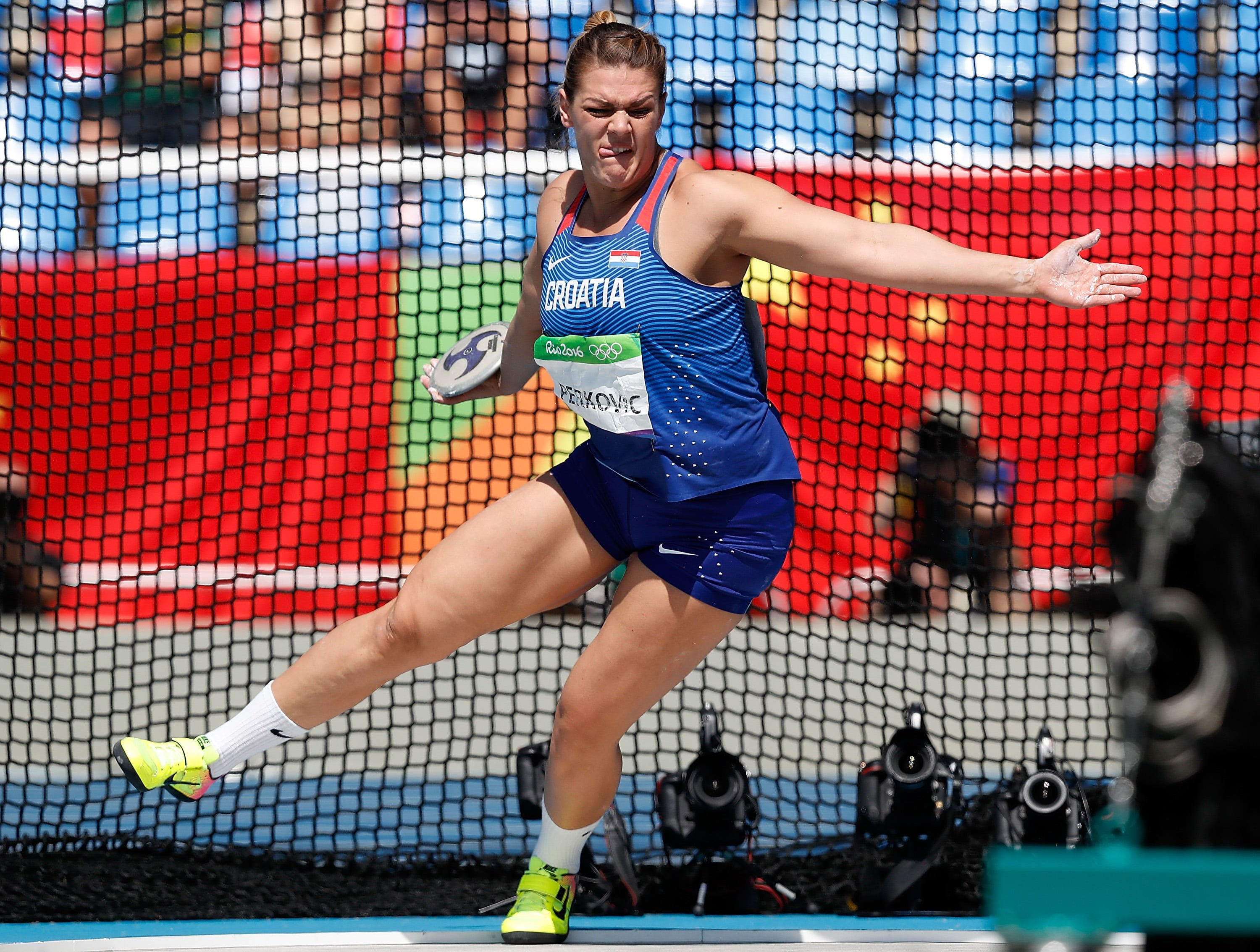 RIO DE JANEIRO, Aug. 16, 2016 Sandra Perkovic of Croatia competes during the final of women's discus throw at the 2016 Rio Olympic Games in Rio de Janeiro, Brazil, on Aug. 16, 2016. Sandra Perkovic won the gold medal. dh) (Credit Image: Wang Lili/Xinhua via ZUMA Wire) IGRZYSKA OLIMPIJSKIE W BRAZYLII BRAZYLIA FOT.ZUMA/NEWSPIX.PL POLAND ONLY!!! --- Newspix.pl *** Local Caption *** www.newspix.pl mail us: info@newspix.pl call us: 0048 022 23 22 222 --- Polish Picture Agency by Ringier Axel Springer Poland