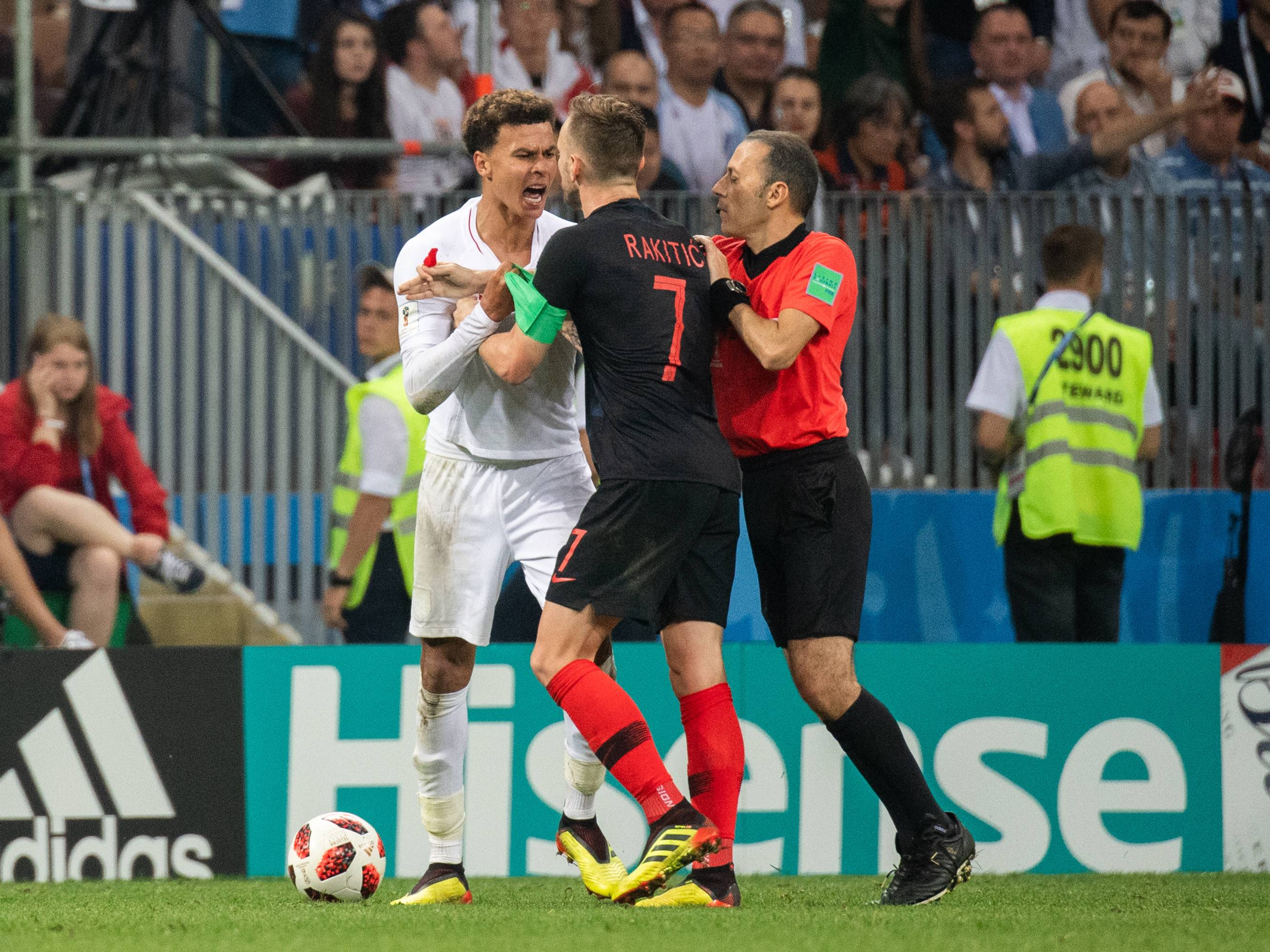 July 11, 2018 - Moscow, Russia - 180711 Irritated between Dele Alli of England and Ivan Rakitic of Croatia during the FIFA World Cup semi final match between Croatia and England on July 11, 2018 in Moscow..Photo: Petter Arvidson / BILDBYRÃ…N / kod PA / 92085 (Credit Image: © Petter Arvidson/Bildbyran via ZUMA Press) ! FOT.ZUMA/NEWSPIX.PL POLAND ONLY!!! --- Newspix.pl *** Local Caption *** www.newspix.pl mail us: info@newspix.pl call us: 0048 022 23 22 222 --- Polish Picture Agency by Ringier Axel Springer Poland