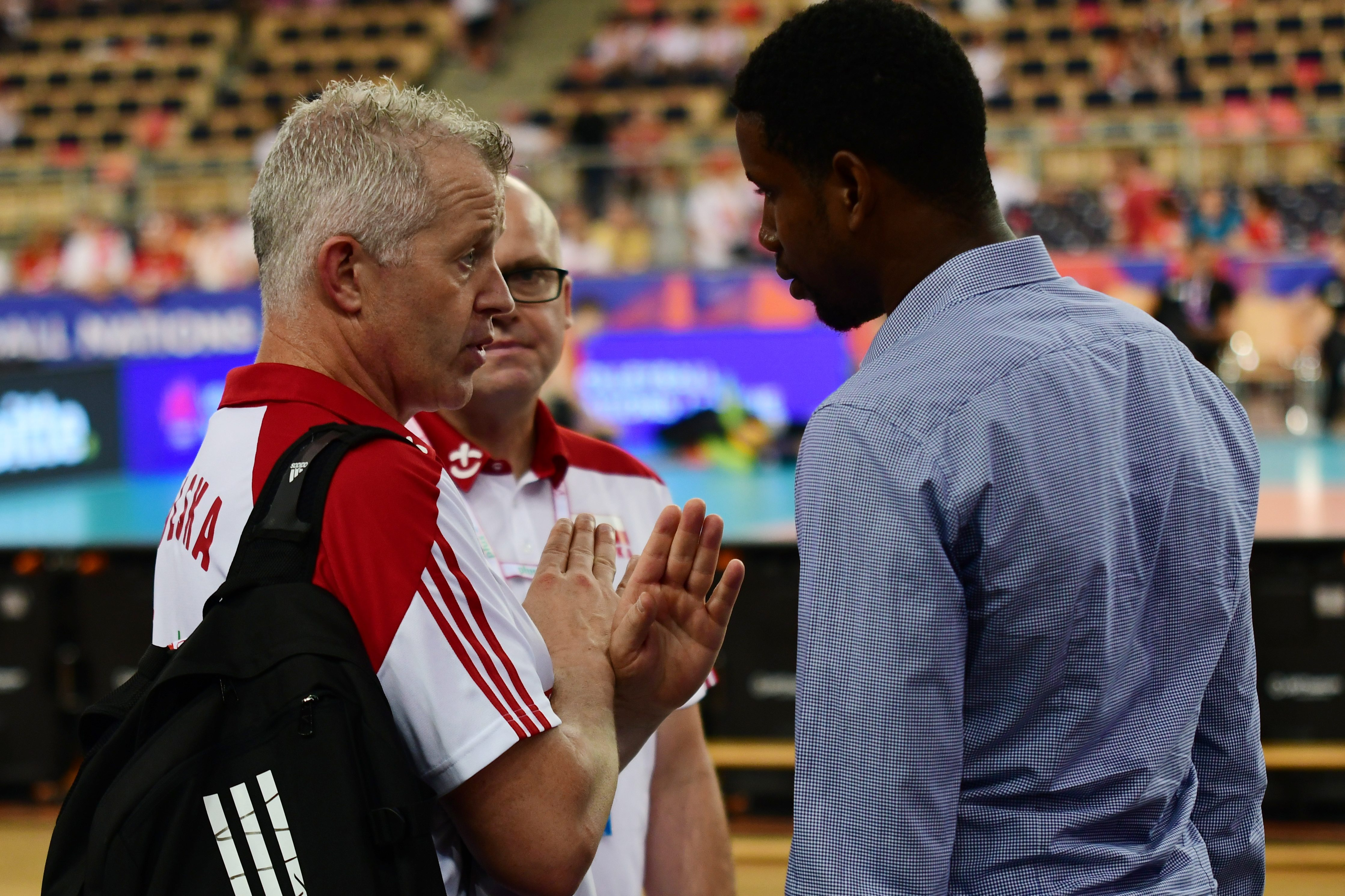 2018.06.01 Lodz Siatkarska Liga Narodow Polska - Francja N/z Vital Heynen, Wilfredo Leon Foto Martyna Szydlowska / Newspix 2018.06.01 Lodz Volleyball Nations League Poland - France Vital Heynen, Wilfredo Leon Credit: Martyna Szydlowska / Newspix --- Newspix.pl *** Local Caption *** www.newspix.pl mail us: info@newspix.pl call us: 0048 022 23 22 222 --- Polish Picture Agency by Ringier Axel Springer Poland