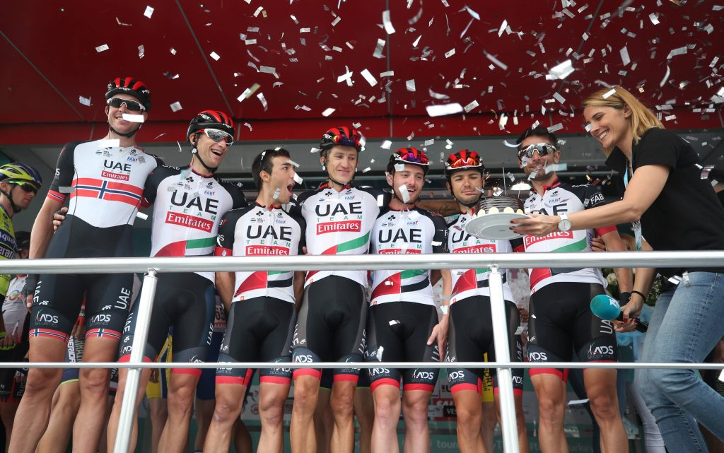 BURSA, TURKEY - OCTOBER 14: Teammates of Przemyslaw Niemiec (4th L) of Team UAE celebrate Niemiec's last competition before the sixth stage between Bursa-Istanbul within the 54th Presidential Cycling Tour of Turkey 2018 in Bursa, Turkey on October 14, 2018. Ali Atmaca / Anadolu Agency kolarstwo szosowe turcja FOT. ABACA/NEWSPIX.PL POLAND ONLY! --- Newspix.pl *** Local Caption *** www.newspix.pl mail us: info@newspix.pl call us: 0048 022 23 22 222 --- Polish Picture Agency by Ringier Axel Springer Poland