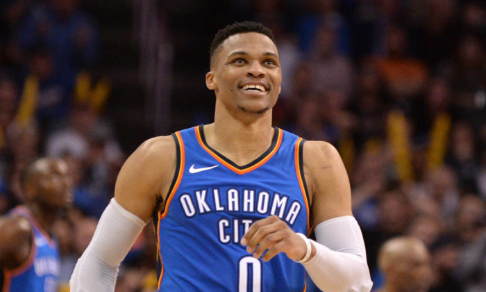 Mar 10, 2018; Oklahoma City, OK, USA; Oklahoma City Thunder guard Russell Westbrook (0) reacts after a play against the San Antonio Spurs during the fourth quarter at Chesapeake Energy Arena. Mandatory Credit: Mark D. Smith-USA TODAY Sports ORG XMIT: USATSI-363209 ORIG FILE ID: 20180310_sal_ax3_1037.JPG