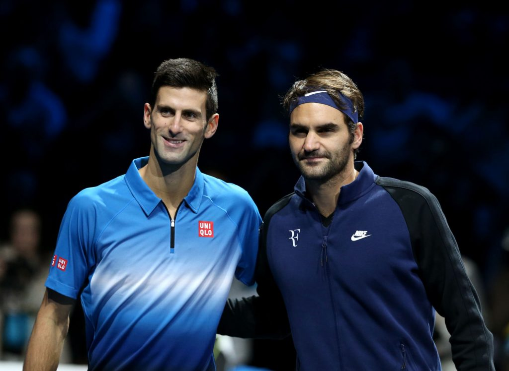 LONDON, NOV. 23, 2015 Novak Djokovic (L) of Serbia and Roger Federer of Switzerland pose ahead of the men's single's final at the ATP World Tour Finals at the O2 Arena in London, Britain, Nov. 22, 2015. Djokovic won 2-0. (Credit Image: © Han Yan/Xinhua via ZUMA Wire) FOT. ZUMA/NEWSPIX.PL POLAND ONLY! --- Newspix.pl *** Local Caption *** www.newspix.pl mail us: info@newspix.pl call us: 0048 022 23 22 222 --- Polish Picture Agency by Ringier Axel Springer Poland