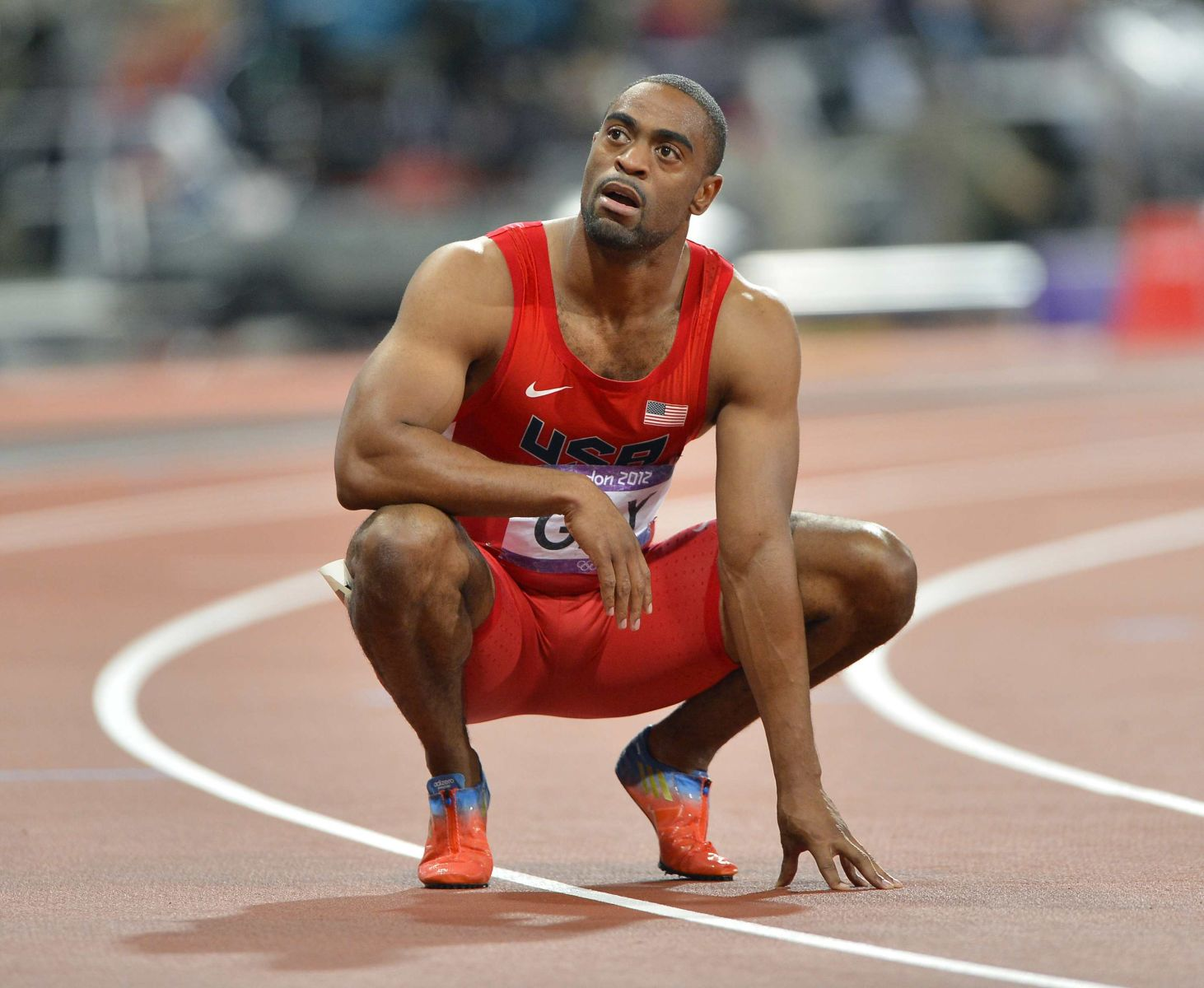 Top US sprinter Tyson Gay and Jamaica's former 100m world record holder Asafa Powell have failed drug tests. Gay, 30, the joint-second fastest man over 100m, was notified by the US Anti-Doping Agency on Friday July 12, 2013, that his A sample from an out-of-competition test in May had returned a positive. Powell, the all-time fourth quickest, was positive for a banned stimulant at June's Jamaican championships. File photo : A stunned Tyson Gay of the USA reacts following the men's 100m sprint at Olympic Stadium during the 2012 Summer Olympic Games in London, UK, Sunday, August 5, 2012. Gay finished fourth in the race, and Bailey, fifth. Photo by David Eulitt/Kansas City Star/MCT/ABACAPRESS. COM DOPING AFERA DOPINGOWA LEKKA ATLETYKA LEKKOATLETYKA FOT. ABACA/NEWSPIX.PL POLAND ONLY !!! --- Newspix.pl *** Local Caption *** www.newspix.pl mail us: info@newspix.pl call us: 0048 022 23 22 222 --- Polish Picture Agency by Ringier Axel Springer Poland