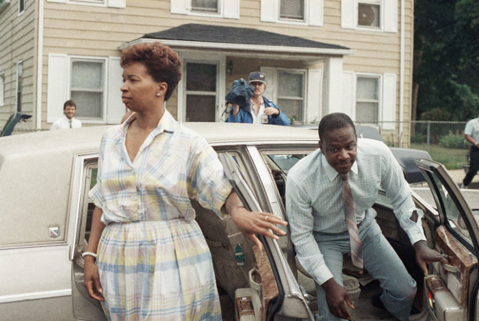 The parents of Len Bias, Lonise and James Bias, return to their Landover, Maryland, home after making funeral arrangements for their son, June 20, 1986. Len Bias, a University of Maryland basketball star, died of an apparent heart attack on the campus on Thursday. (AP Photo/Bill Smith)