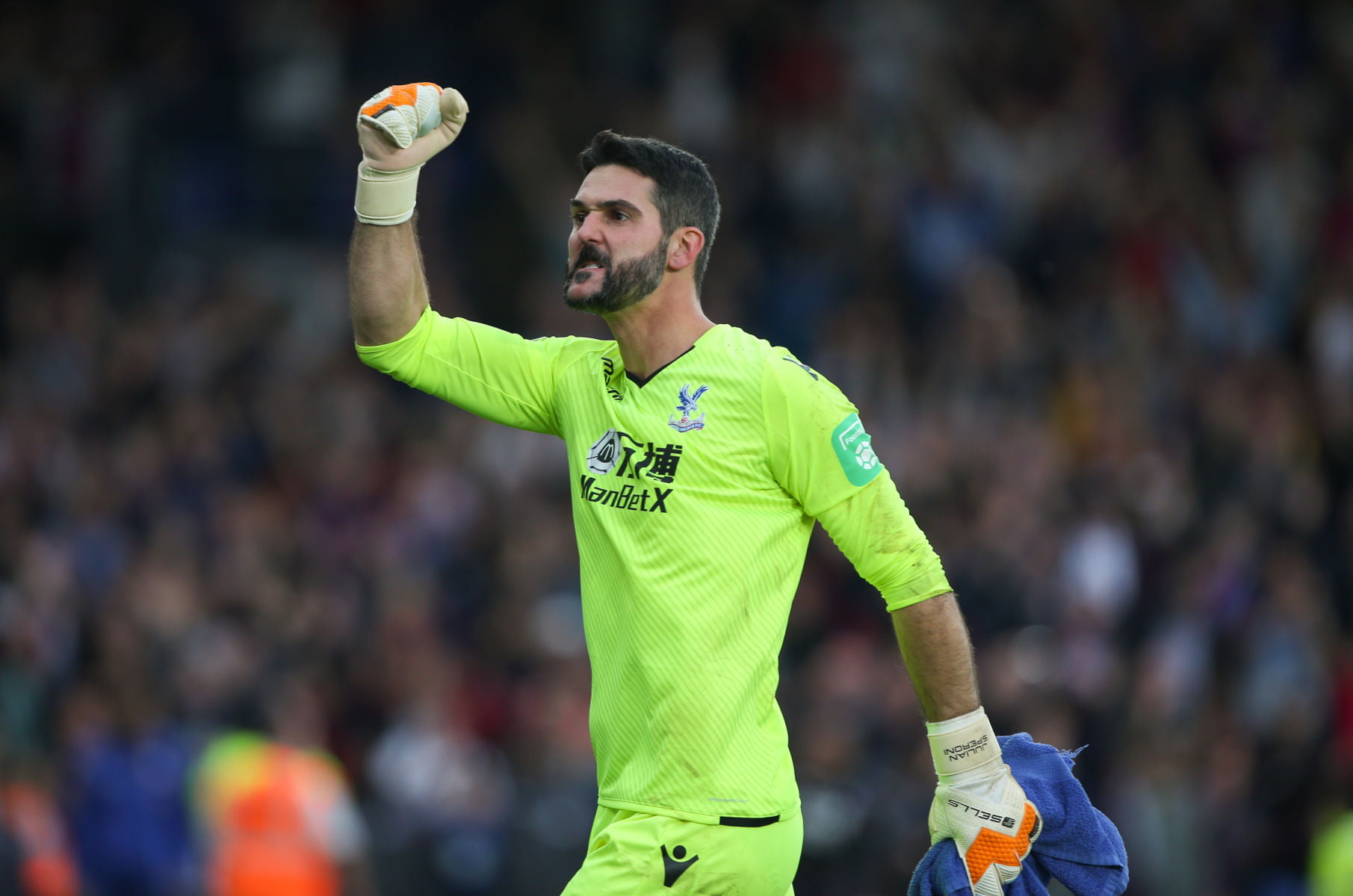 POLAND RIGHTS ONLY Julian Speroni of Crystal Palace celebrates the victory during the Premier League match between Crystal Palace and Chelsea at Selhurst Park on October 14th 2017 in London, England. (Photo by Arron Gent/phcimages.com) PILKA NOZNA SEZON 2017/2018 LIGA ANGIELSKA FOT. PHCIMAGES/NEWSPIX.PL POLAND ONLY! --- Newspix.pl *** Local Caption *** www.newspix.pl mail us: info@newspix.pl call us: 0048 022 23 22 222 --- Polish Picture Agency by Ringier Axel Springer Poland
