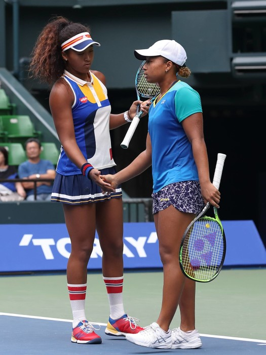 Naomi Osaka (L) and her older sister Mari Osaka during the women's doubles match of WTA Toray PPO Tennis at Ariake Coliseum, Tokyo, Japan on September 20, 2017. (Photo by Motoo Naka/AFLO) FOT.AFLO/NEWSPIX.PL POLAND ONLY!!! --- Newspix.pl *** Local Caption *** www.newspix.pl mail us: info@newspix.pl call us: 0048 022 23 22 222 --- Polish Picture Agency by Ringier Axel Springer Poland
