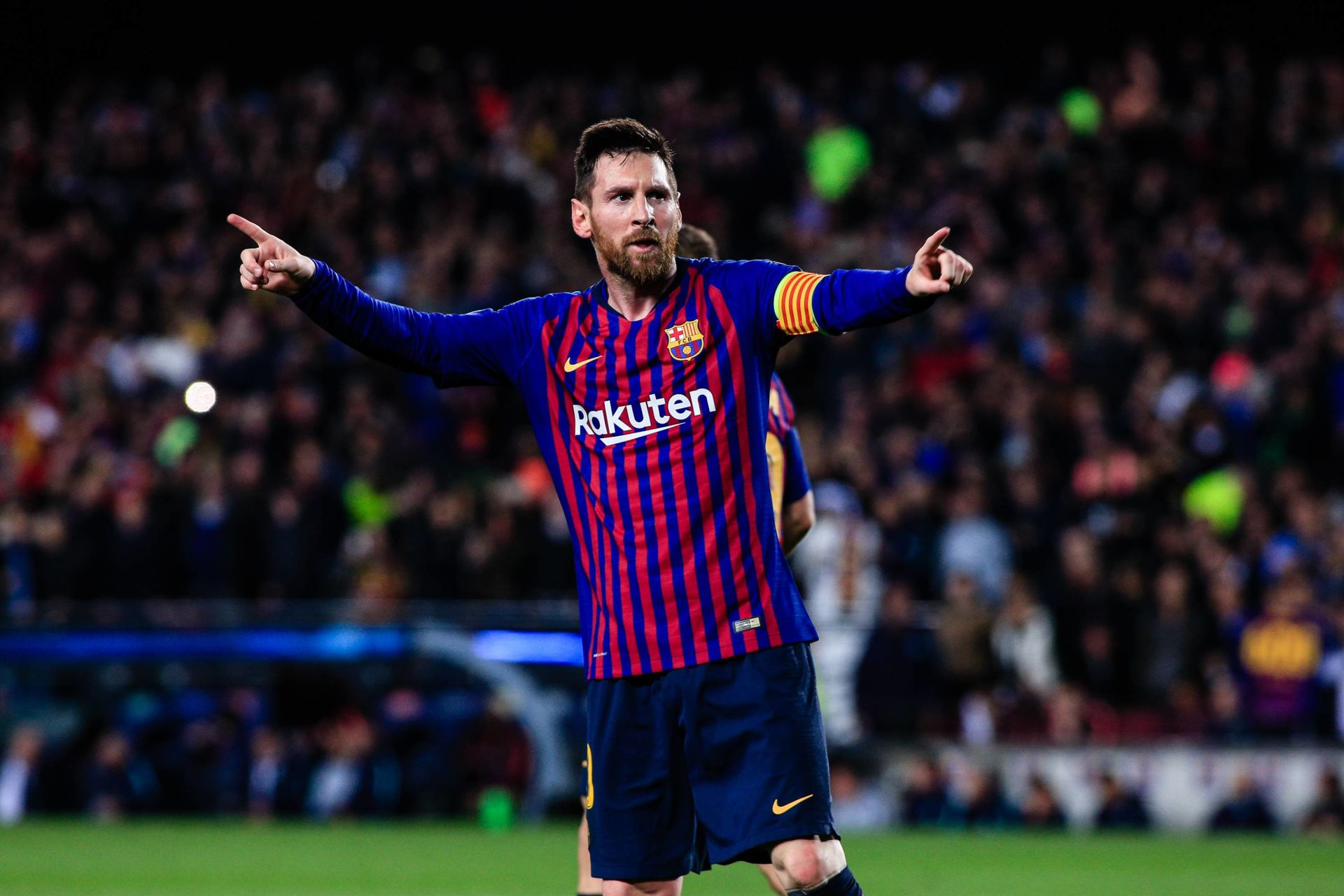 May 1, 2019 - Barcelona, BARCELONA, Spain - 10 Leo Messi of FC Barcelona celebrating his goal during the UEFA Champions League first leg match of Semi final between FC Barcelona and Liverpool FC in Camp Nou Stadium in Barcelona 01 of May of 2019, Spain. (Credit Image: © AFP7 via ZUMA Wire) FOT.ZUMA/NEWSPIX.PL POLAND ONLY!!! --- Newspix.pl *** Local Caption *** www.newspix.pl  mail us: info@newspix.pl call us: 0048 022 23 22 222 --- Polish Picture Agency by Ringier Axel Springer Poland