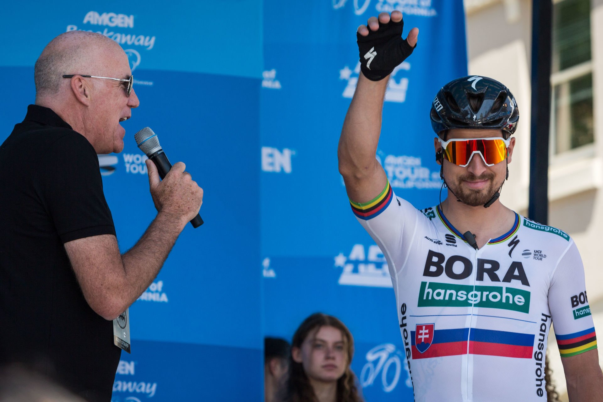 May 12, 2019 - Sacramento, California, U.S - PETER SAGAN, of Team Bora-Hansgrohe (GER) waves to race fans prior to the start of Stage 1 of the 2019 Amgen Tour of California at California's State Capitol city of Sacramento on Sunday afternoon. Stage 1 begins and ends in Sacramento, where the American and Sacramento Rivers meet before heading west. This is the raceÕs 10th year in Sacramento...The 2019 Amgen Tour of California race will showcase scenic California roadways, coastlines and iconic settings, with more than 750 miles of racing throughout the seven-day event. The race will run north to south through the official host communities of Sacramento, Rancho Cordova, South Lake Tahoe, Stockton, Morgan Hill, Laguna Seca, Morro Bay, Pismo Beach, Ventura, Ontario, Mt. Baldy, Santa Clarita and Pasadena. (Credit Image: © Tracy Barbutes/ZUMA Wire)  KOLARSTWO SZOSOWE FOT. ZUMA/NEWSPIX.PL POLAND ONLY! --- Newspix.pl *** Local Caption *** www.newspix.pl  mail us: info@newspix.pl call us: 0048 022 23 22 222 --- Polish Picture Agency by Ringier Axel Springer Poland