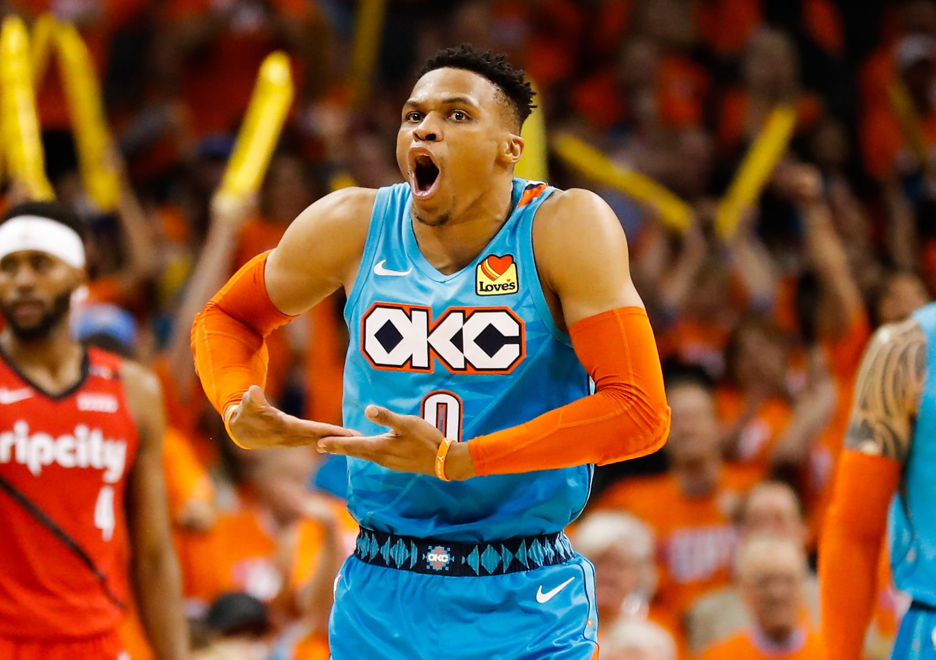 Apr 19, 2019; Oklahoma City, OK, USA; Oklahoma City Thunder guard Russell Westbrook (0) reacts after scoring against the Portland Trail Blazers during the second half in game three of the first round of the 2019 NBA Playoffs at Chesapeake Energy Arena.  Photo : Alonzo Adams / SUSA / Icon Sport  KOSZYKOWKA MEZCZYZN NBA FOT. ICON SPORT/NEWSPIX.PL POLAND ONLY !!! --- Newspix.pl *** Local Caption *** www.newspix.pl  mail us: info@newspix.pl call us: 0048 022 23 22 222 --- Polish Picture Agency by Ringier Axel Springer Poland