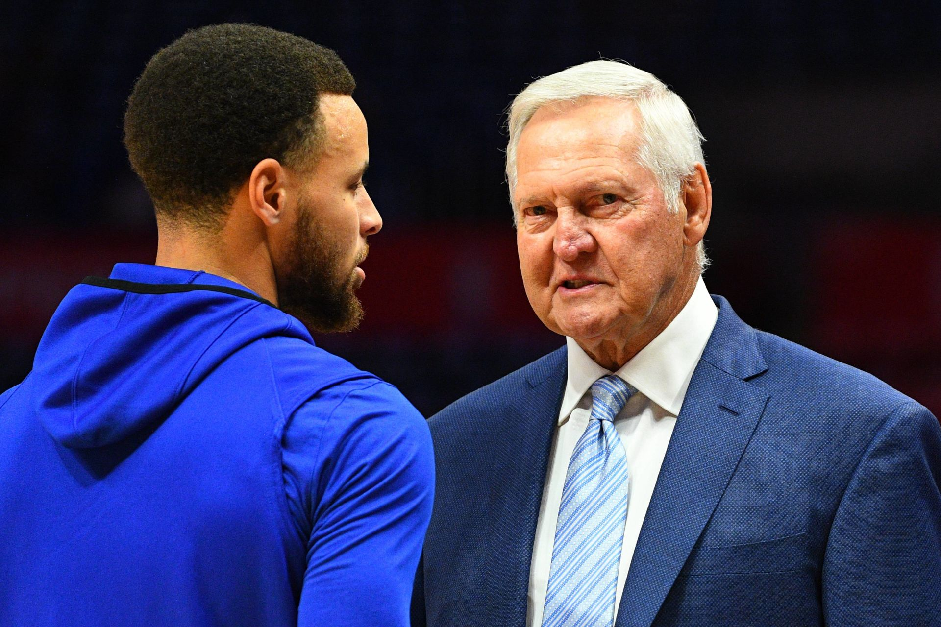 April 18, 2019 - Los Angeles, CA, U.S. - LOS ANGELES, CA - APRIL 18: Golden State Warriors Guard Stephen Curry (30) talks with Executive board member of the Los Angeles Clippers Jerry West before game three of the first round of the 2019 NBA Playoffs between the Golden State Warriors and the Los Angeles Clippers on April 18, 2019 at Staples Center in Las Angeles, CA.(Photo by Brian Rothmuller/Icon Sportswire) (Credit Image: © Brian Rothmuller/Icon SMI via ZUMA Press) NBA KOSZYKOWKA MEZCZYZN FOT. ZUMA/NEWSPIX.PL POLAND ONLY! --- Newspix.pl *** Local Caption *** www.newspix.pl mail us: info@newspix.pl call us: 0048 022 23 22 222 --- Polish Picture Agency by Ringier Axel Springer Poland