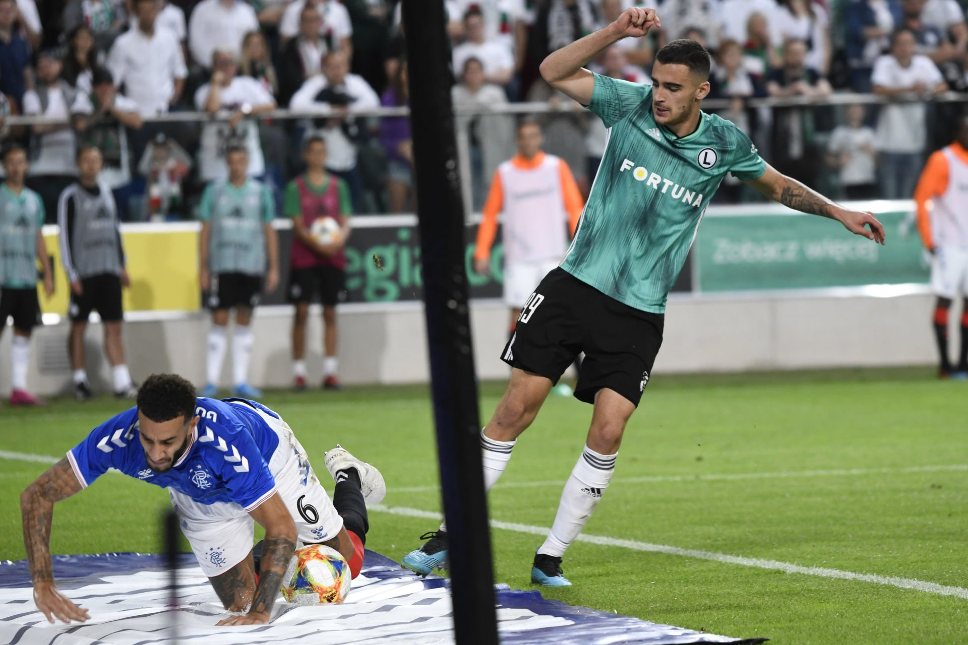 WARSZAWA 22.08.2019 PIERWSZY MECZ IV RUNDA ELIMINACYJNA LIGA EUROPY SEZON 2019/20: LEGIA WARSZAWA - RANGERS FC --- UEFA EUROPA LEAGUE FIRST LEG  FOURTH QUALIFYING ROUND MATCH: LEGIA WARSAW - RANGERS FC CONNOR GOLDSON, SANDRO KULENOVIC,  FOT. MACIEJ BIALY/ 400mm.pl