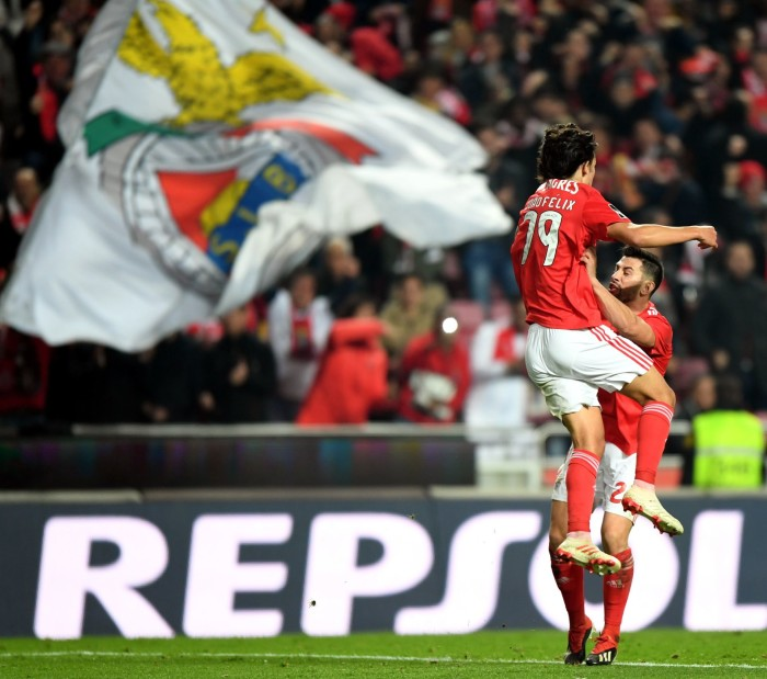 LISBON, Jan. 7, 2019 Joao Felix (L) of Benfica celebrates with teammate Pizzi after scoring during the Portuguese League soccer match between Benfica and Rio Ave in Lisbon, Portugal, Jan. 6, 2019. Benfica won 4-2. (Credit Image: © Xinhua via ZUMA Wire) PILKA NOZNA SEZON 2018/2019 LIGA PORTUGALSKA FOT. ZUMA/NEWSPIX.PL POLAND ONLY! --- Newspix.pl *** Local Caption *** www.newspix.pl mail us: info@newspix.pl call us: 0048 022 23 22 222 --- Polish Picture Agency by Ringier Axel Springer Poland