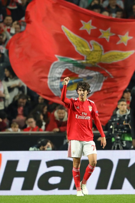 April 11, 2019 - Lisbon, Portugal - João Félix of SL Benfica celebrates his goal during the UEFA Europa League 2018/2019 football match between SL Benfica vs Eintracht Frankfurt. (Credit Image: © David Martins/SOPA Images via ZUMA Wire) FOT.ZUMA/NEWSPIX.PL POLAND ONLY!!! --- Newspix.pl *** Local Caption *** www.newspix.pl mail us: info@newspix.pl call us: 0048 022 23 22 222 --- Polish Picture Agency by Ringier Axel Springer Poland