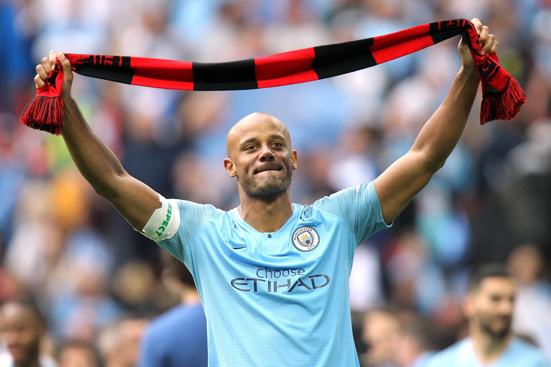 POLAND RIGHTS ONLY Vincent Kompany of Manchester City celebrates after the FA Cup Final match between Manchester City and Watford at the Etihad Stadium on May 18th 2019 in Manchester, England. (Photo by Matt Bradshaw/phcimages.com) PUCHAR ANGLII PILKA NOZNA SEZON 2018/2019 FOT.PHCIMAGES/NEWSPIX.PL POLAND ONLY!!! --- Newspix.pl *** Local Caption *** www.newspix.pl mail us: info@newspix.pl call us: 0048 022 23 22 222 --- Polish Picture Agency by Ringier Axel Springer Poland