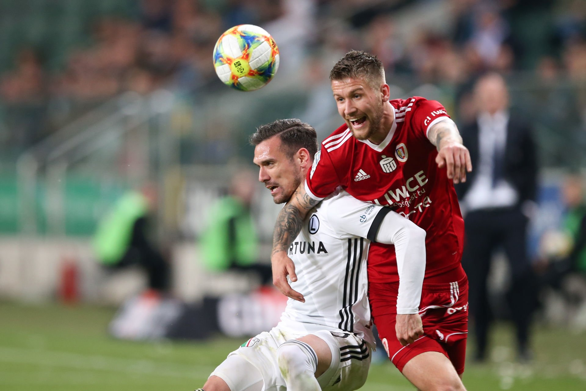 WARSZAWA 04.05.2019 MECZ 34. KOLEJKA LOTTO EKSTRAKLASA SEZON 2018/19 --- POLISH FOOTBALL TOP LEAGUE MATCH IN WARSAW: LEGIA WARSZAWA - PIAST GLIWICE 0:1 MARKO VESOVIC PIOTR PARZYSZEK FOT. PIOTR KUCZA/ 400mm.pl