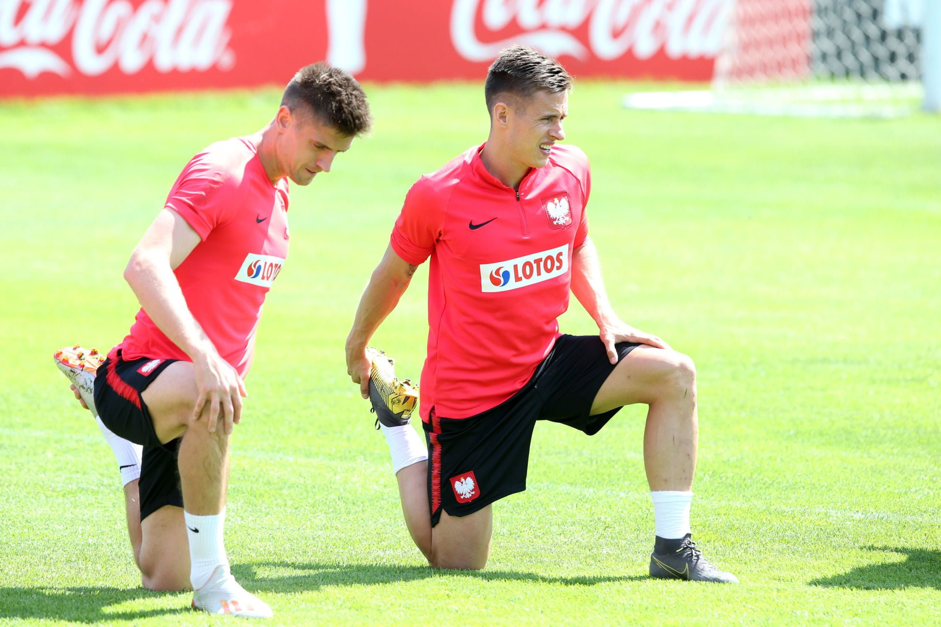 WARSZAWA 04.06.2019 TRENING REPREZENTACJI POLSKI --- POLISH FOOTBALL NATIONAL TEAM TRAINING SESSION IN WARSAW KRZYSZTOF PIATEK DAMIAN KADZIOR FOT. PIOTR KUCZA/ 400mm.pl