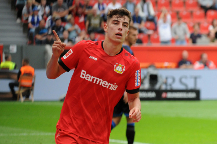17.08.2019, BayArena, Leverkusen, GER, 1. FBL, Bayer 04 Leverkusen vs SC Paderborn 07, 1. Spieltag, im Bild Torschuetze Kai Havertz ( Bayer 04 Leverkusen ) jubelt ueber seinen Treffer zum 2 : 1 // during the German Bundesliga 1st round match between Bayer 04 Leverkusen and SC Paderborn 07 at the BayArena in Leverkusen, Germany on 2019/08/17. EXPA Pictures © 2019, PhotoCredit: EXPA/ Eibner-Pressefoto/ Thomas Thienel *****ATTENTION - OUT of GER***** LIGA NIEMIECKA PILKA NOZNA SEZON 2019/2020 FOT.EXPA/NEWSPIX.PL Austria, Italy, Spain, Slovenia, Serbia, Croatia, Germany, UK, USA and Sweden OUT! --- Newspix.pl *** Local Caption *** www.newspix.pl mail us: info@newspix.pl call us: 0048 022 23 22 222 --- Polish Picture Agency by Ringier Axel Springer Poland