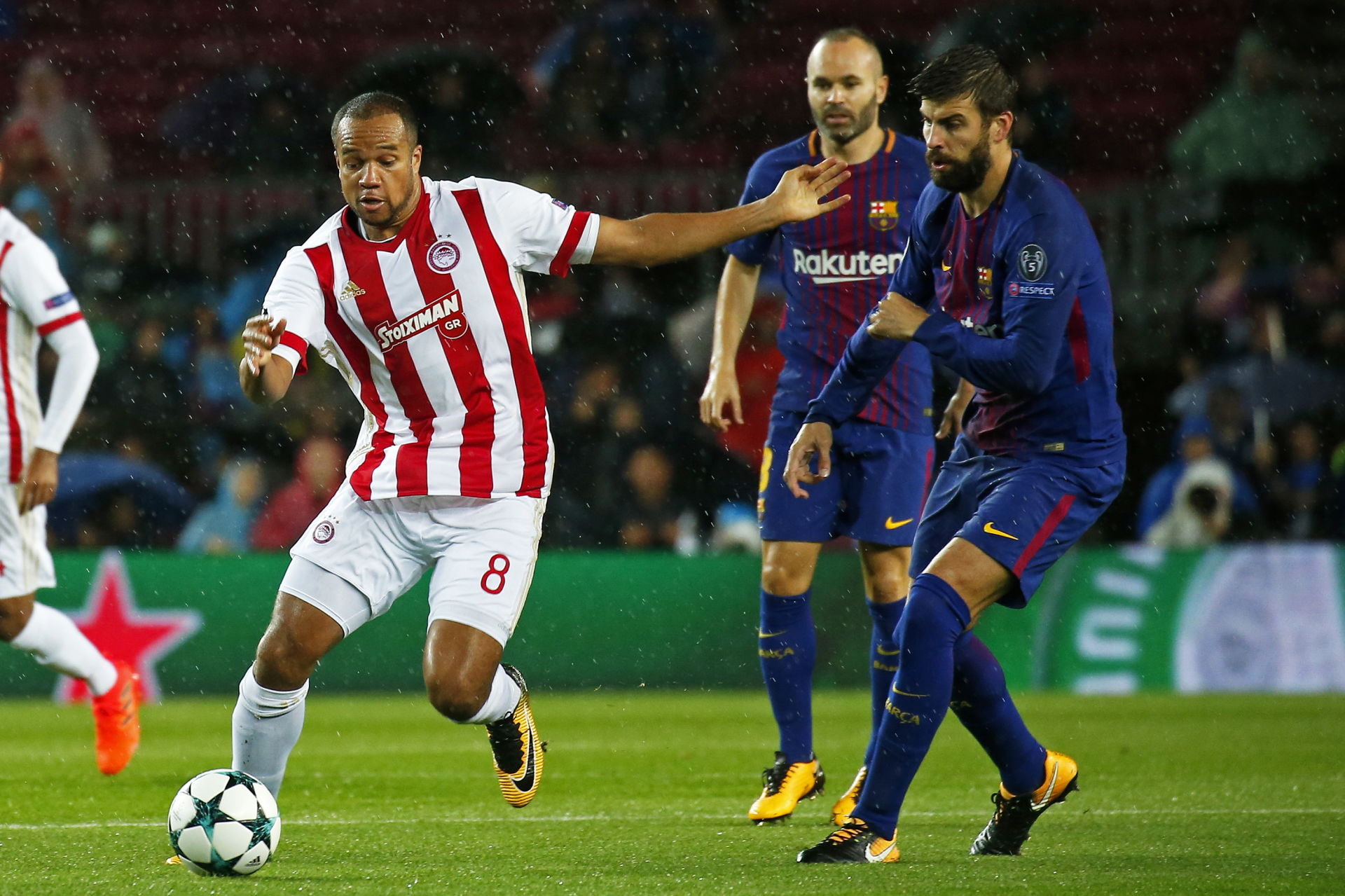 October 18, 2017 - Barcelona, Spain - Vadis Odjidja during Champions League match between FC Barcelona v Olympiakos FC , in Barcelona, on October 18, 2017. Photo: Joan Valls/Urbanandsport/Nurphoto (Credit Image: © Joan Valls/NurPhoto via ZUMA Press) LIGA MISTRZOW PILKA NOZNA SEZON 2017/2018 FOT.ZUMA/NEWSPIX.PL POLAND ONLY!!! --- Newspix.pl *** Local Caption *** www.newspix.pl mail us: info@newspix.pl call us: 0048 022 23 22 222 --- Polish Picture Agency by Ringier Axel Springer Poland