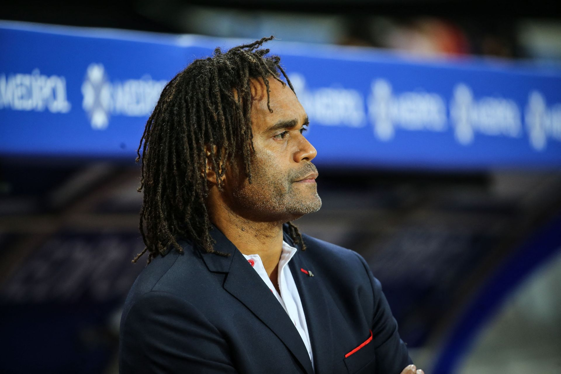 ISTANBUL, TURKEY - AUGUST 7: Strategic Advisor of Olympiacos Christian Karembeu looks on during UEFA Champions League third qualifying round soccer match between Medipol Basaksehir and Olympiacos at the 3rd Istanbul Basaksehir Fatih Terim Stadium in Istanbul, Turkey on August 7, 2019. Sebnem Coskun / Anadolu Agency/ABACAPRESS.COM PILKA NOZNA SEZON 2019/2020 LIGA MISTRZOW ELIMINACJE FOT. ABACA/NEWSPIX.PL POLAND ONLY! --- Newspix.pl *** Local Caption *** www.newspix.pl mail us: info@newspix.pl call us: 0048 022 23 22 222 --- Polish Picture Agency by Ringier Axel Springer Poland