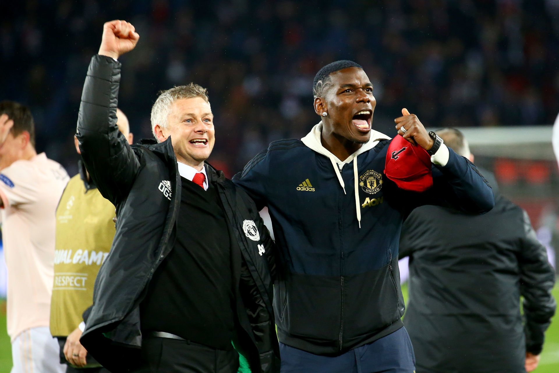 Ole Gunnar Solskjaer, coach of Manchester United and Paul Pogba of Manchester United during the UEFA Champions League Round of 16 Second Leg match between Paris Saint Germain and Manchester United at Parc des Princes on March 6, 2019 in Paris, France. (Photo by Pierre Costabadie/Icon Sport) PILKA NOZNA SEZON 2018/2019 LIGA MISTRZOW FOT. ICON SPORT/NEWSPIX.PL POLAND ONLY! --- Newspix.pl *** Local Caption *** www.newspix.pl mail us: info@newspix.pl call us: 0048 022 23 22 222 --- Polish Picture Agency by Ringier Axel Springer Poland