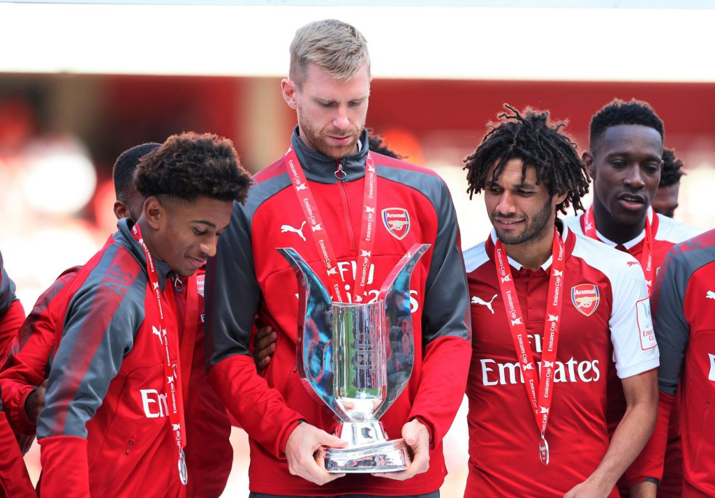 July 30, 2017 - London, United Kingdom - Arsenal''s Per Mertesacker looks almost embbarrased to win the trophy during the pre season match at the Emirates Stadium, London. Picture date 30th July 2017. Picture credit should read: David Klein/Sportimage(Credit Image: © David Klein/CSM via ZUMA Wire) PILKA NOZNA EMIRATES CUP FOT.ZUMA/NEWSPIX.PL POLAND ONLY!!! --- Newspix.pl *** Local Caption *** www.newspix.pl mail us: info@newspix.pl call us: 0048 022 23 22 222 --- Polish Picture Agency by Ringier Axel Springer Poland