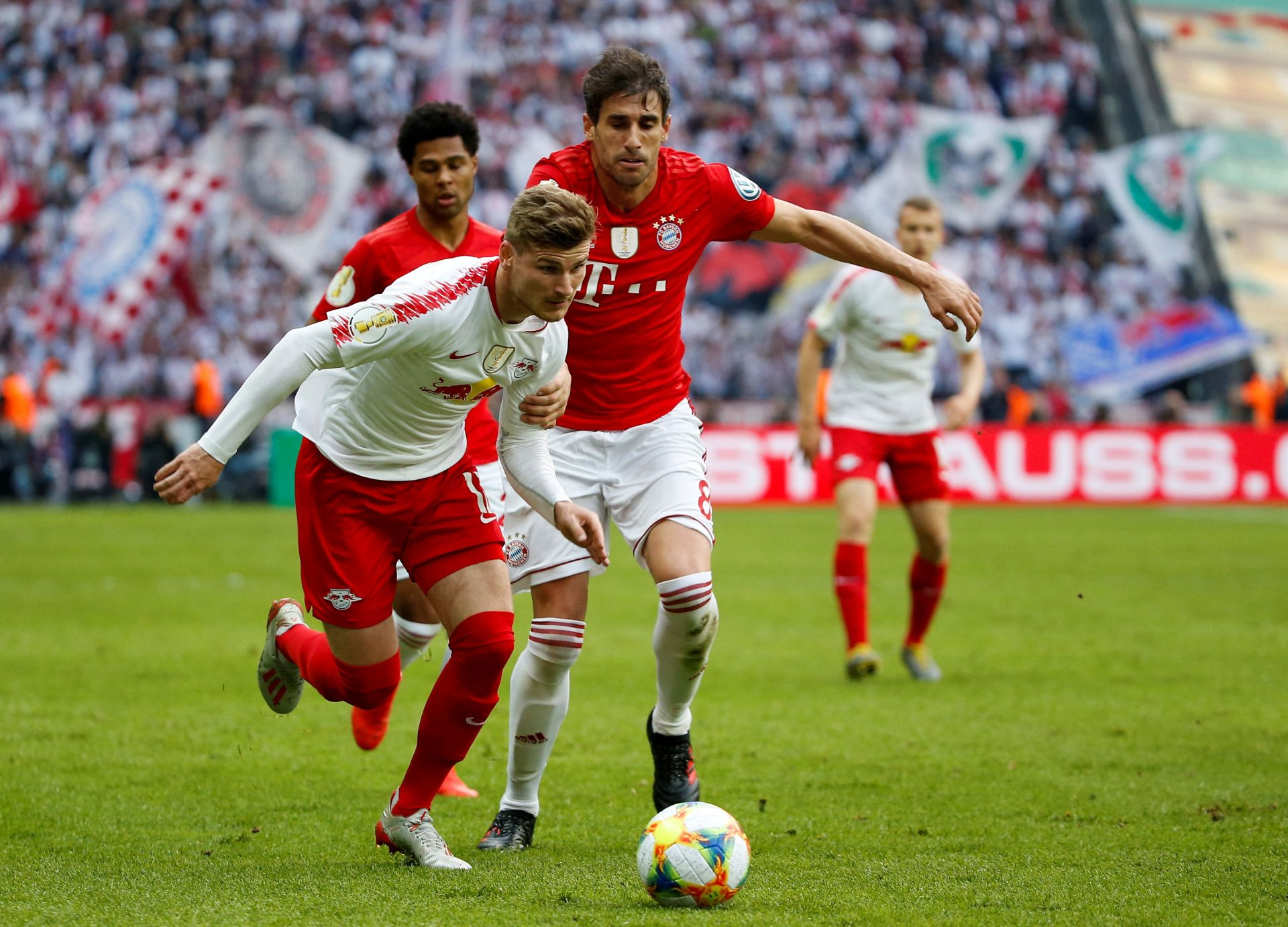 BERLIN, GERMANY - MAY 25 : Timo Werner (L) of Leipzig in action against Martinez (R) during the German DFB Cup final soccer match between FC Bayern Munich and RB Leipzig at the Olympic Stadium in Berlin, Germany on 24 May 2019. Abdulhamid Hosbas / Anadolu Agency/ABACAPRESS.COM PILKA NOZNA PUCHAR NIEMIEC FINAL FOT. ABACA/NEWSPIX.PL POLAND ONLY! --- Newspix.pl *** Local Caption *** www.newspix.pl mail us: info@newspix.pl call us: 0048 022 23 22 222 --- Polish Picture Agency by Ringier Axel Springer Poland