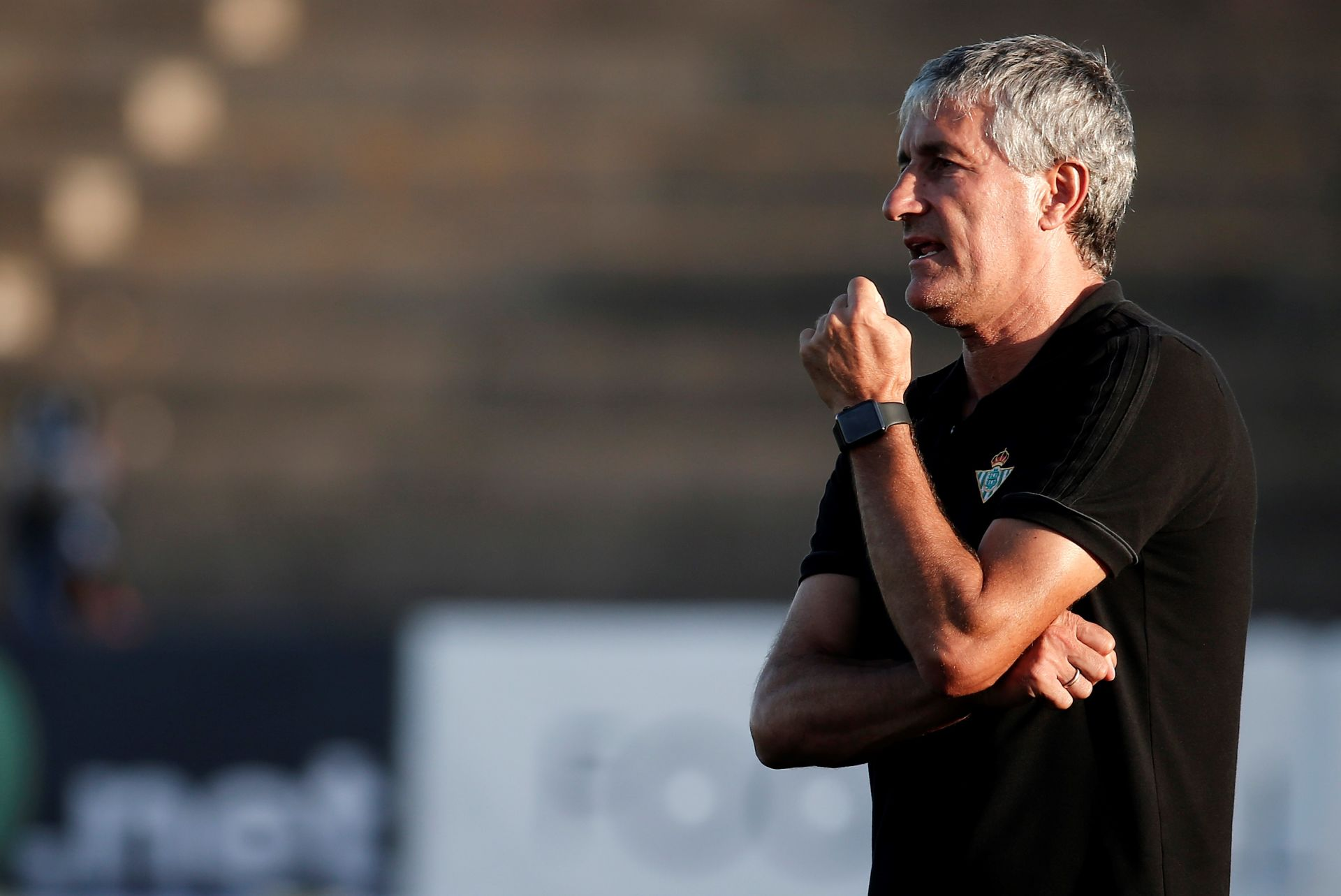 CADIZ, SPAIN - JULY 30 : Head coach of Real Betis Quique Setien is seen during a friendly match between Besiktas and Real Betis as part of the new season preparations in Cadiz, Spain on July 30, 2017. Burak Akbulut / Anadolu Agency FOT.ABACA/NEWSPIX.PL POLAND ONLY!!! --- Newspix.pl mecz towarzysKLI PILKA NOZNA *** Local Caption *** www.newspix.pl mail us: info@newspix.pl call us: 0048 022 23 22 222 --- Polish Picture Agency by Ringier Axel Springer Poland