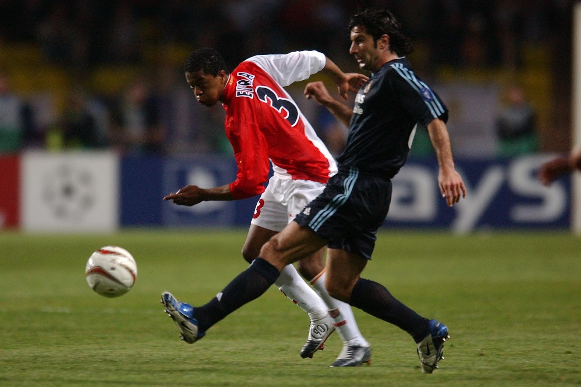 06.04.2004, Stade Louis II, Monaco, MCO, UEFA CL, AS Monaco vs Real Madrid, Viertelfinale, im Bild evra patrice, figo luis // during the UEFA Champions League quarterfinals match between AS Monaco and Real Madrid at the Stade Louis II in Monaco, Monaco on 2004/04/06. EXPA Pictures © 2018, PhotoCredit: EXPA/ Pressesports/ PREVOST *****ATTENTION - for AUT, SLO, CRO, SRB, BIH, MAZ, POL only***** LIGA MISTRZOW PILKA NOZNA MECZ MONACO VS REAL MADRYT FOT.EXPA/NEWSPIX.PL Austria, Italy, Spain, Slovenia, Serbia, Croatia, Germany, UK, USA and Sweden OUT! --- Newspix.pl *** Local Caption *** www.newspix.pl mail us: info@newspix.pl call us: 0048 022 23 22 222 --- Polish Picture Agency by Ringier Axel Springer Poland
